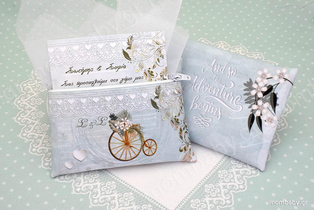 Πορτοφόλι Μπομπονιέρα Γάμου με Πρόσκληση, Ποδήλατο Ρετρό